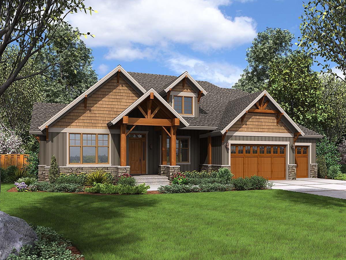 Craftsman House Plan 81231 with 4 Beds, 4 Baths, 3 Car Garage Front Elevation