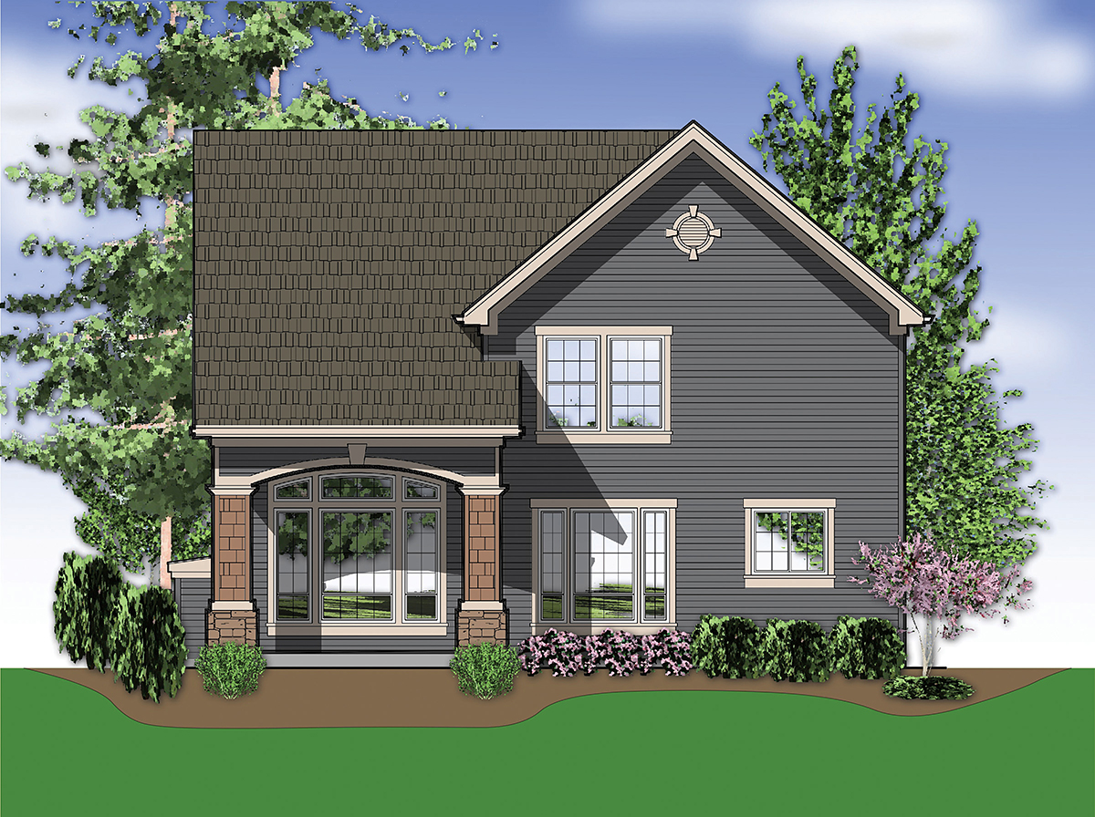 Craftsman, Traditional House Plan 81233 with 3 Beds, 3 Baths, 2 Car Garage Rear Elevation