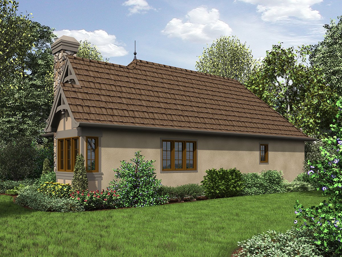 Cottage, French Country, Tudor House Plan 81234 with 2 Beds , 1 Baths Rear Elevation