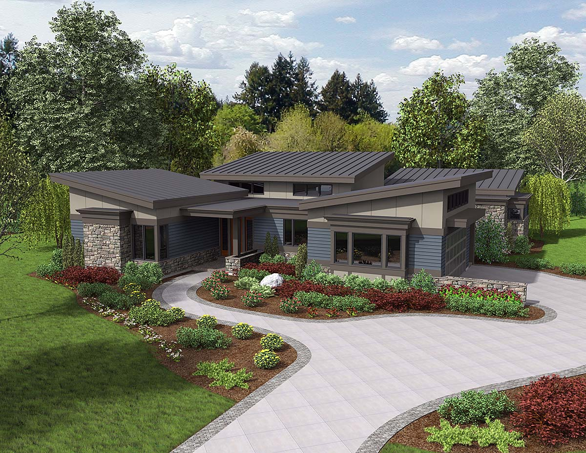 Contemporary, Modern House Plan 81235 with 3 Beds, 3 Baths, 2 Car Garage Front Elevation