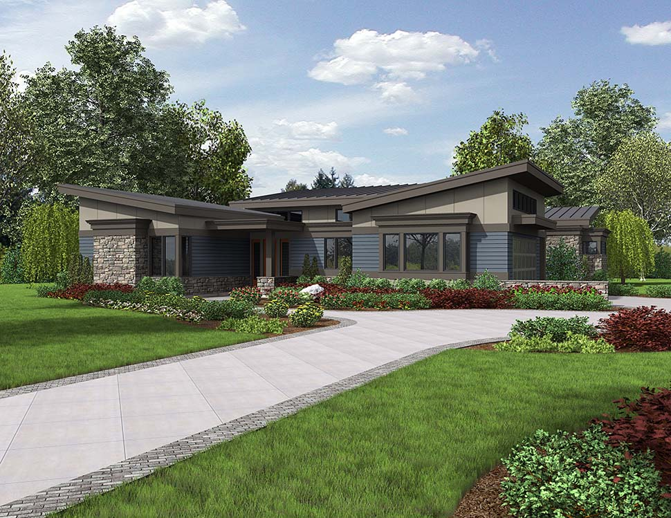 Contemporary, Modern House Plan 81235 with 3 Beds, 3 Baths, 2 Car Garage Picture 3