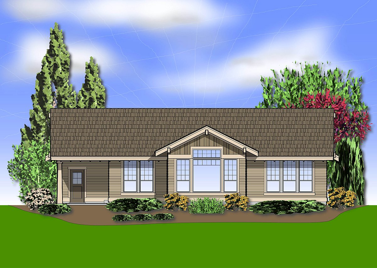 Craftsman House Plan 81237 with 3 Beds, 2 Baths, 3 Car Garage Rear Elevation
