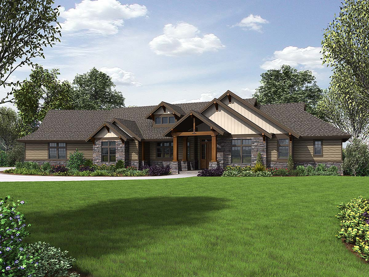 Craftsman House Plan 81238 with 3 Beds, 3 Baths, 3 Car Garage Elevation