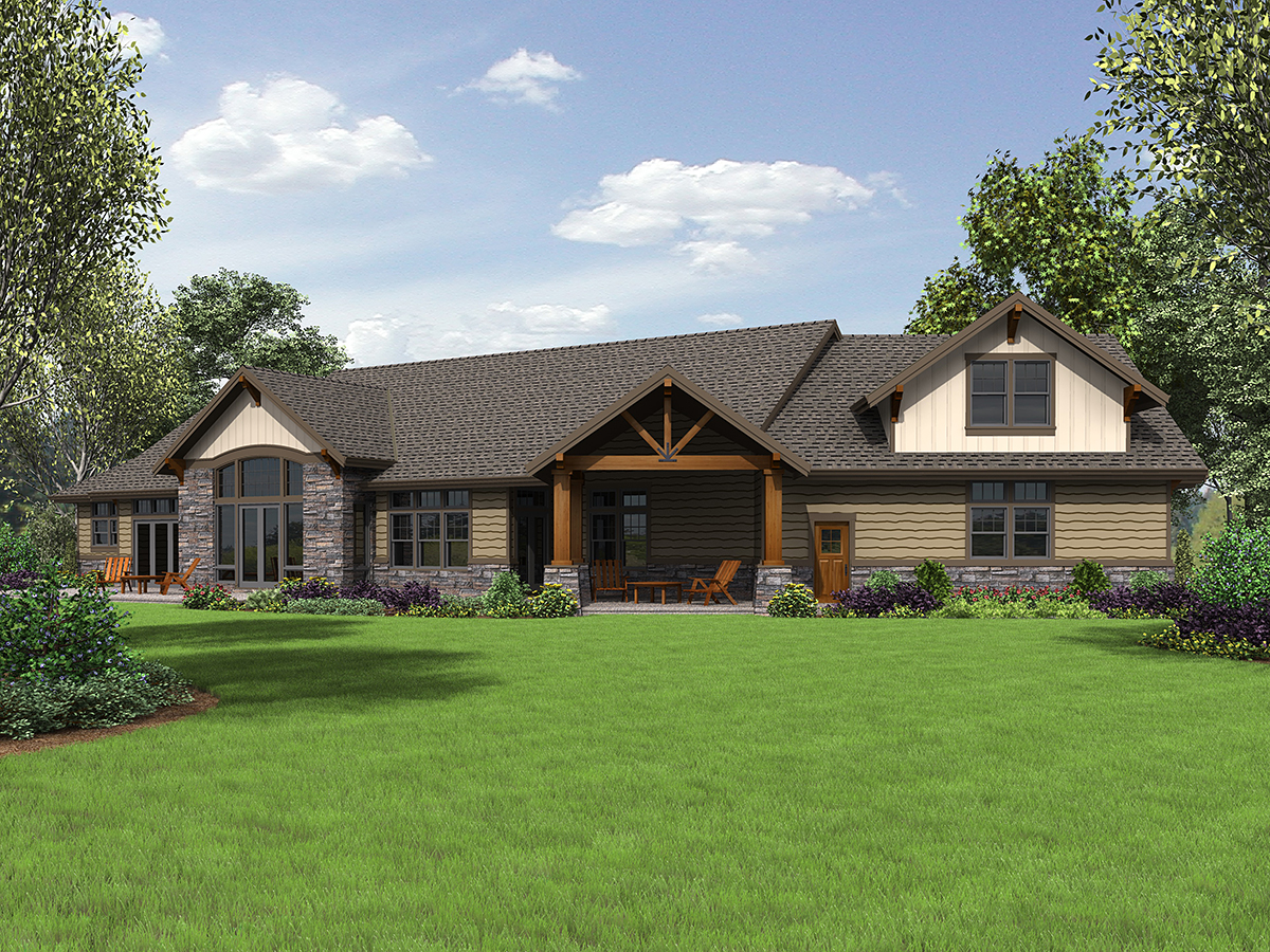 Craftsman House Plan 81238 with 3 Beds, 3 Baths, 3 Car Garage Rear Elevation