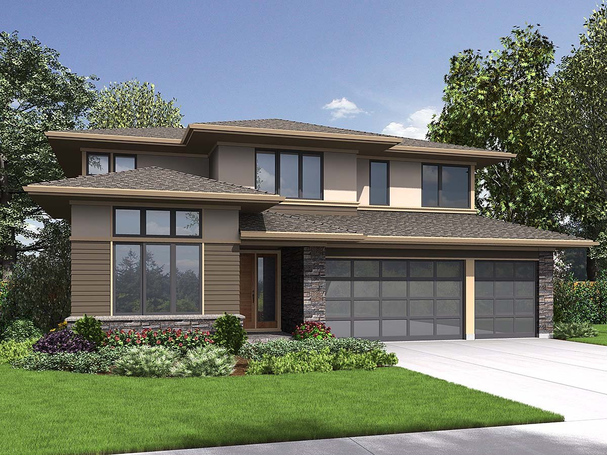Contemporary , Modern , Prairie Style , Elevation of Plan 81239