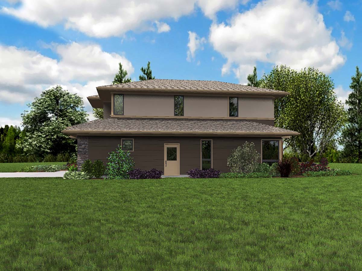Contemporary, Prairie House Plan 81239 with 4 Beds, 3 Baths, 3 Car Garage Picture 1