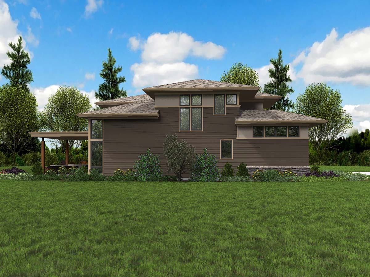 Contemporary, Prairie House Plan 81239 with 4 Beds, 3 Baths, 3 Car Garage Picture 2