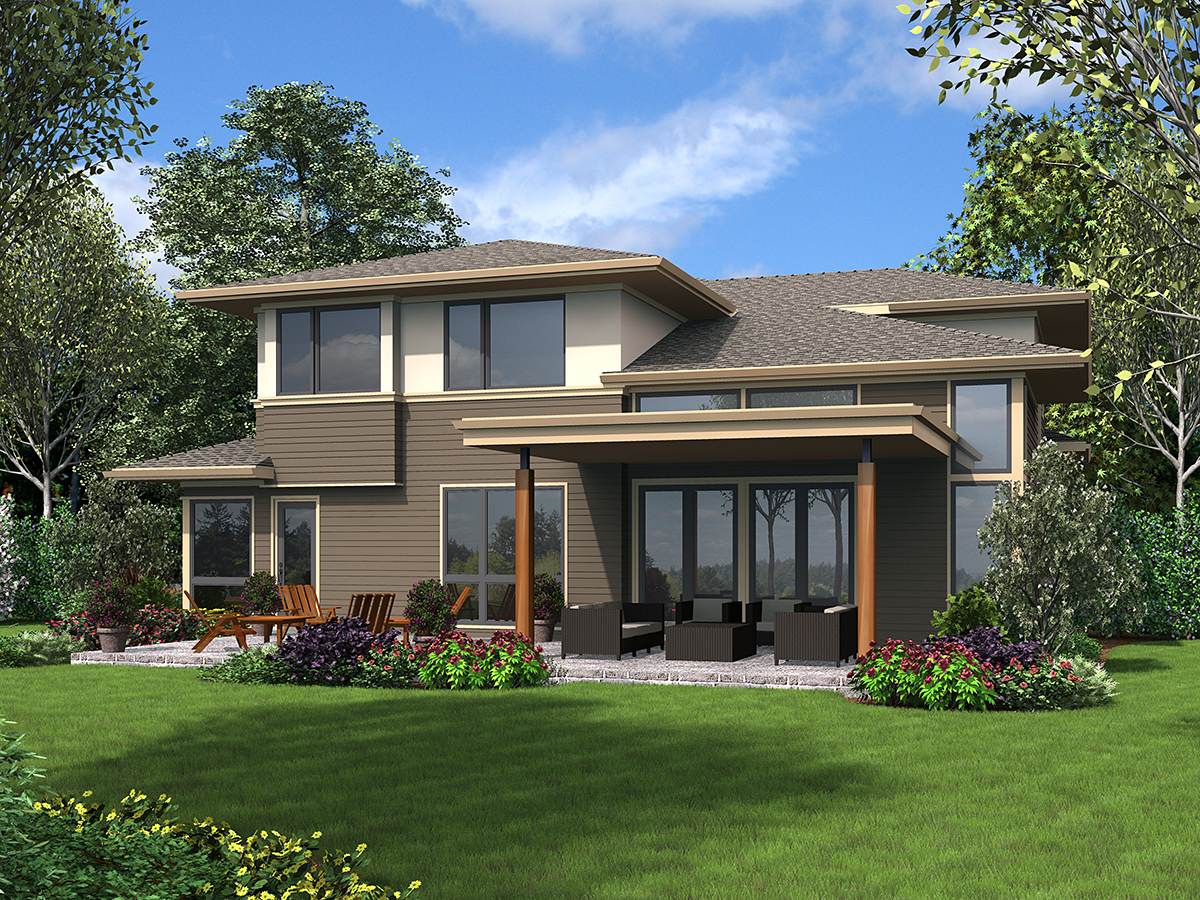 Contemporary , Modern , Prairie Style , Rear Elevation of Plan 81239