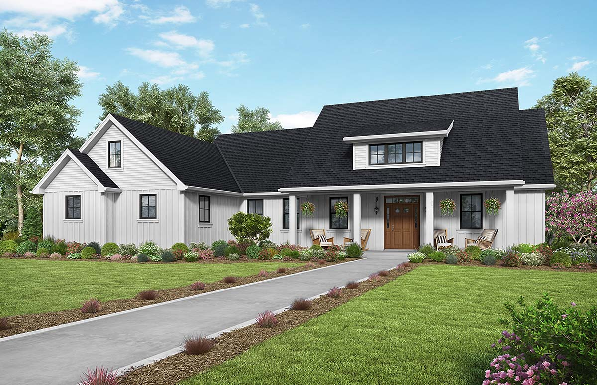 Contemporary, Country, Farmhouse, Southern House Plan 81240 with 3 Beds, 3 Baths, 2 Car Garage Front Elevation