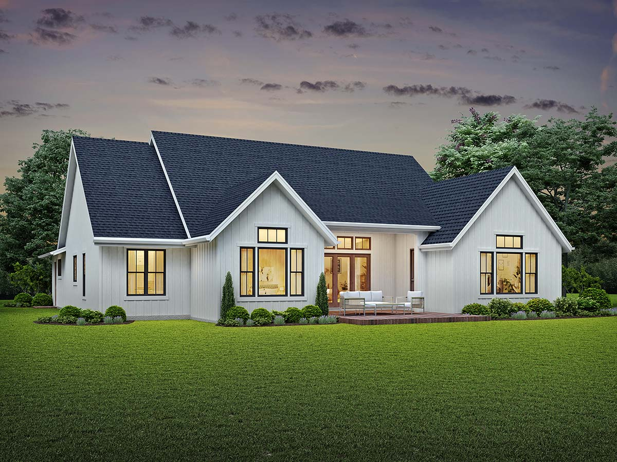 Country, Farmhouse, Southern House Plan 81245 with 3 Beds, 3 Baths, 3 Car Garage Rear Elevation