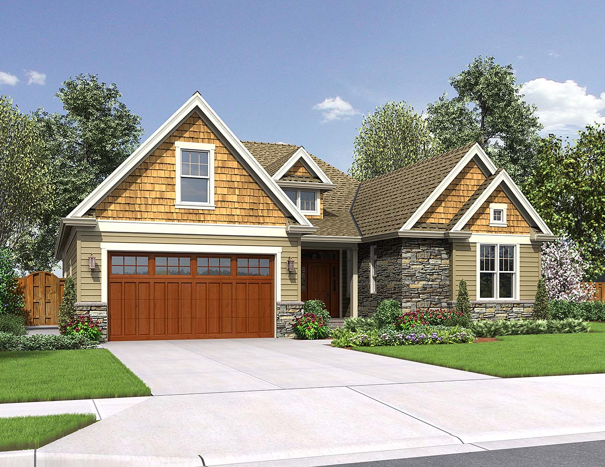 Craftsman, Ranch House Plan 81247 with 4 Beds , 3 Baths , 2 Car Garage Elevation