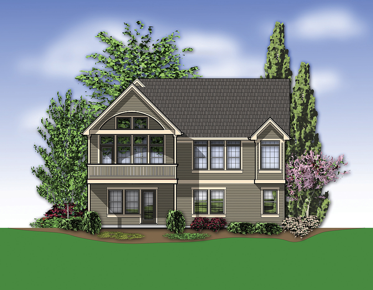 Traditional House Plan 81249 with 3 Beds , 3 Baths , 2 Car Garage Rear Elevation