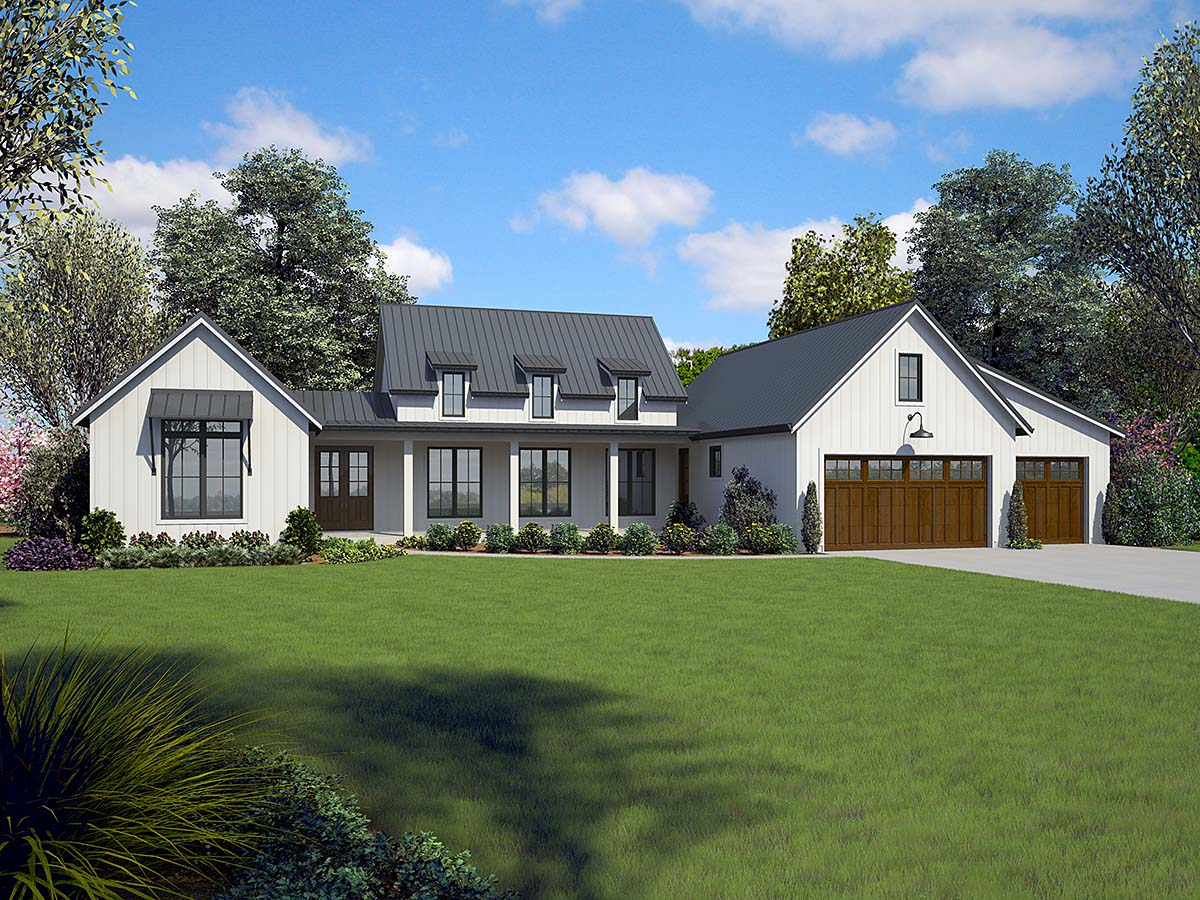 Country, Farmhouse, Ranch House Plan 81253 with 3 Beds, 3 Baths, 3 Car Garage Elevation