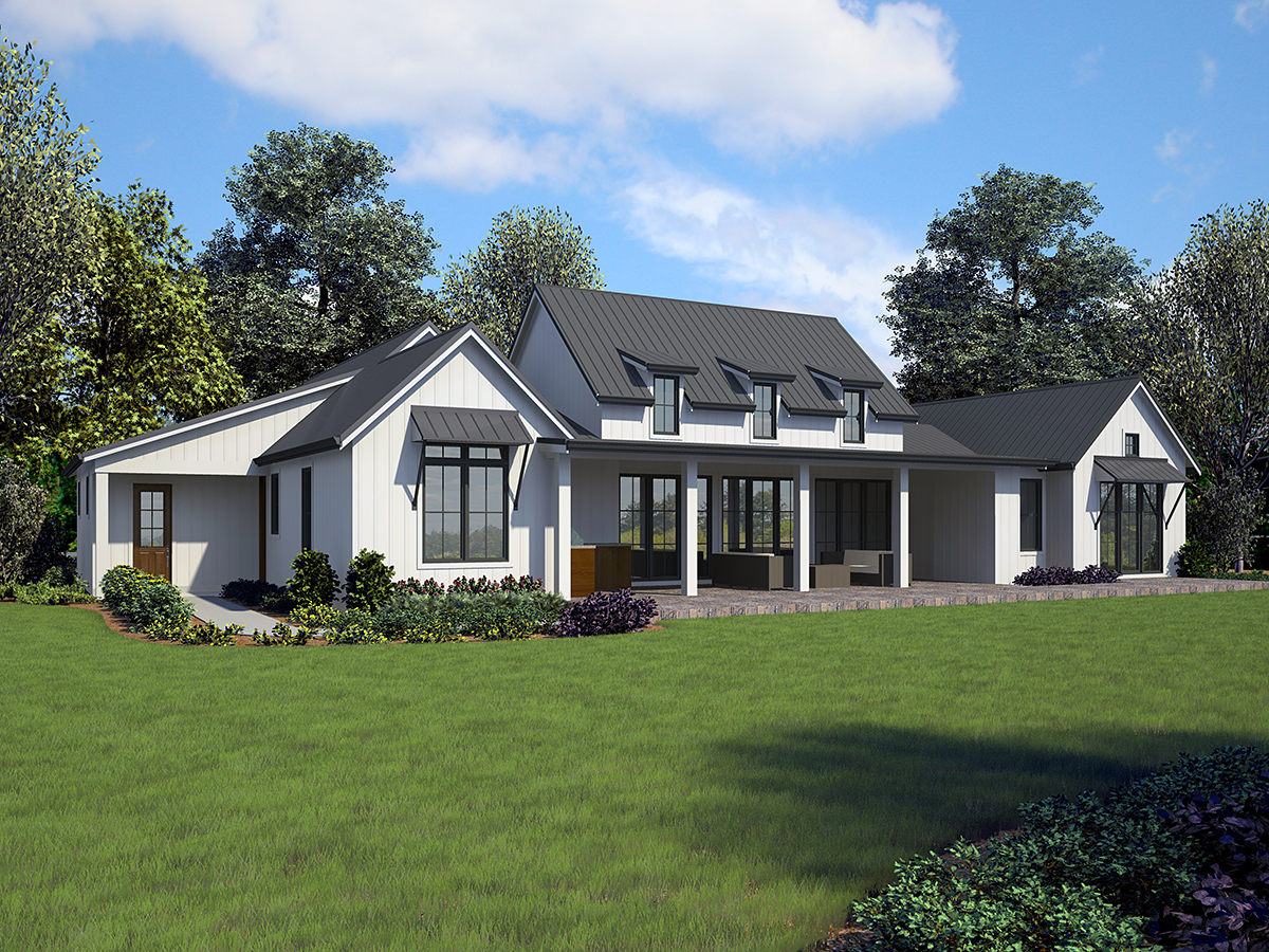 Country, Farmhouse, Ranch House Plan 81253 with 3 Beds, 3 Baths, 3 Car Garage Rear Elevation