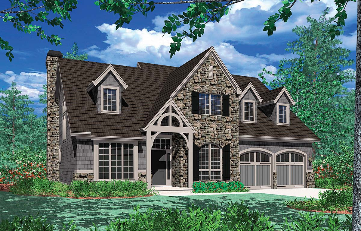 Craftsman, European, French Country, Traditional House Plan 81255 with 4 Beds, 3 Baths, 3 Car Garage Elevation