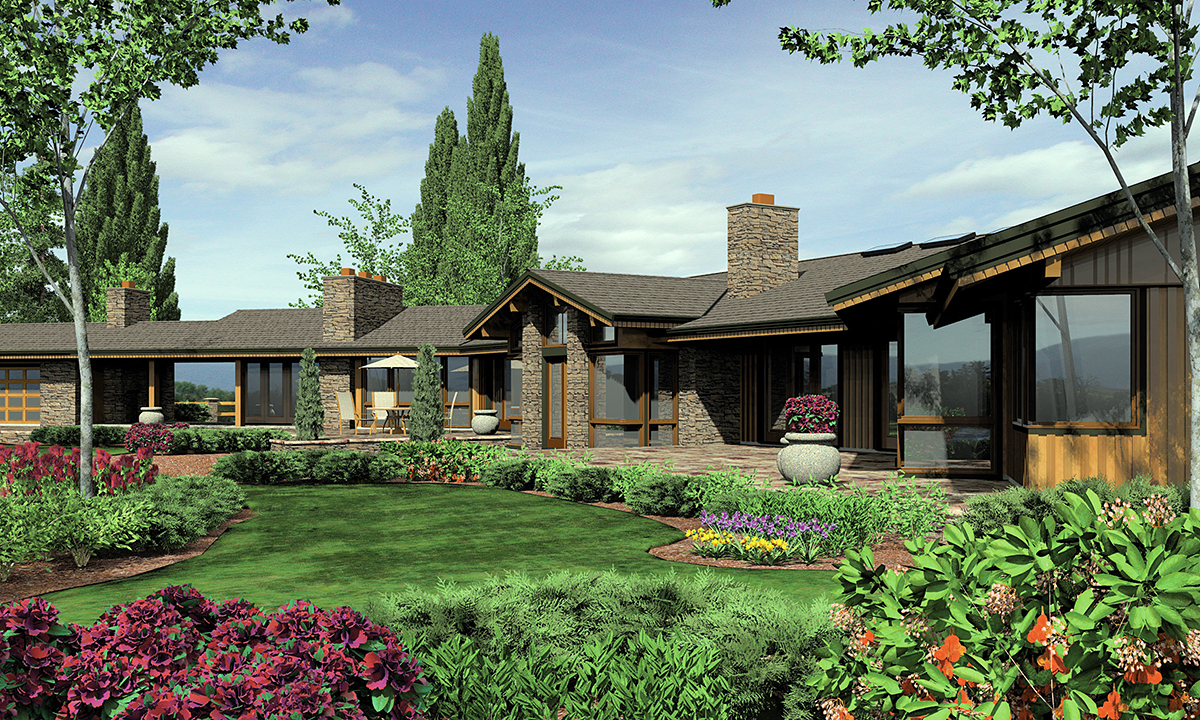 Contemporary, Craftsman, Modern Farmhouse House Plan 81261 with 5 Beds , 6 Baths , 3 Car Garage Rear Elevation