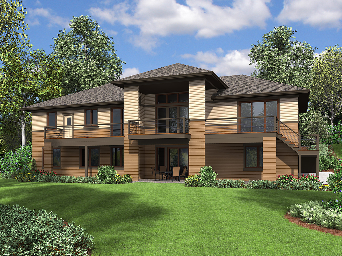 Contemporary, Craftsman, Tuscan House Plan 81262 with 3 Beds, 4 Baths, 2 Car Garage Rear Elevation