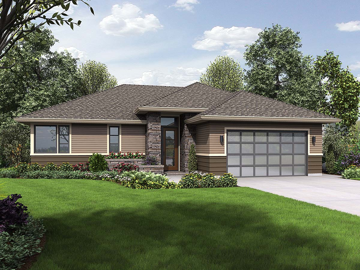Contemporary, Prairie, Ranch House Plan 81266 with 3 Beds, 2 Baths, 2 Car Garage Elevation