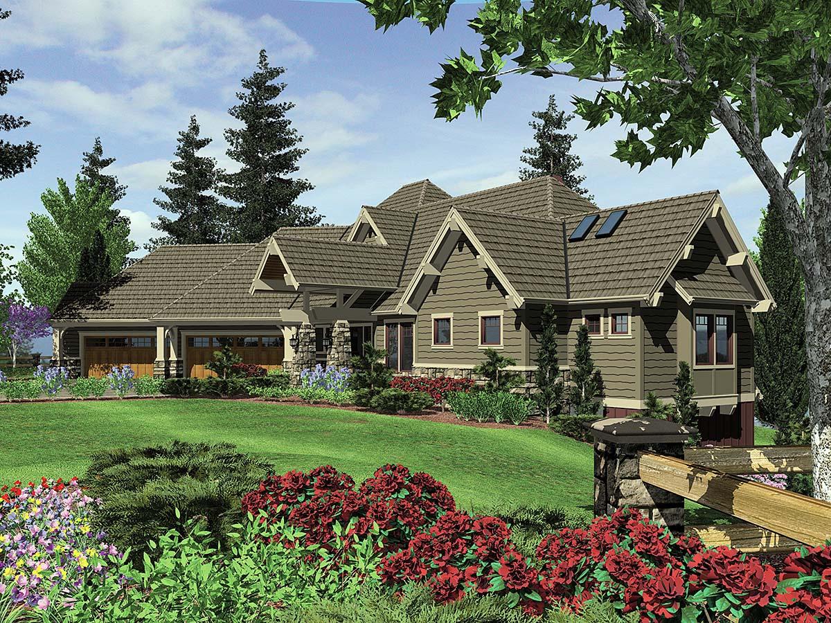 Craftsman, Tuscan House Plan 81271 with 4 Beds, 5 Baths, 4 Car Garage Front Elevation