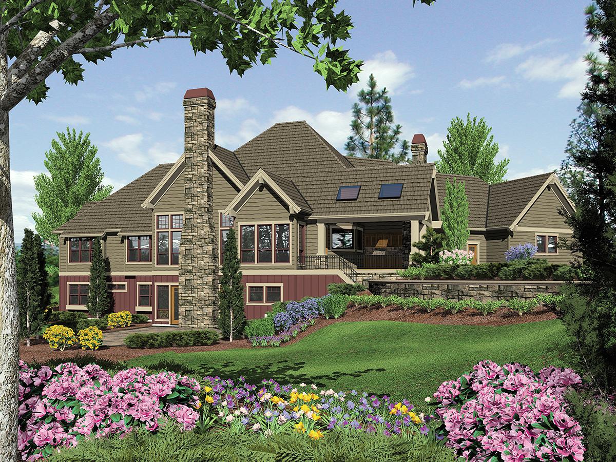 Craftsman, Tuscan House Plan 81271 with 4 Beds, 5 Baths, 4 Car Garage Rear Elevation