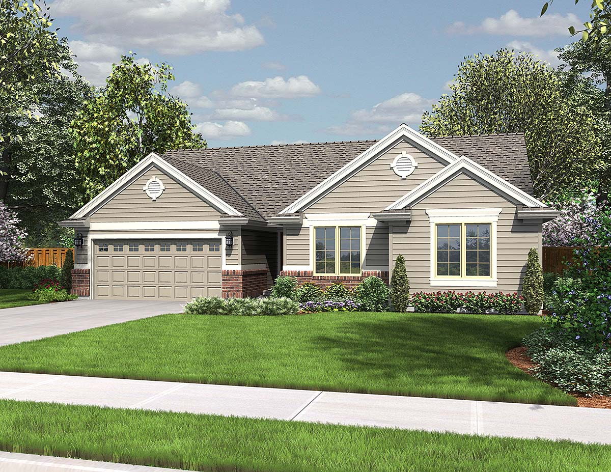 Ranch House Plan 81276 with 3 Beds, 2 Baths, 2 Car Garage Elevation