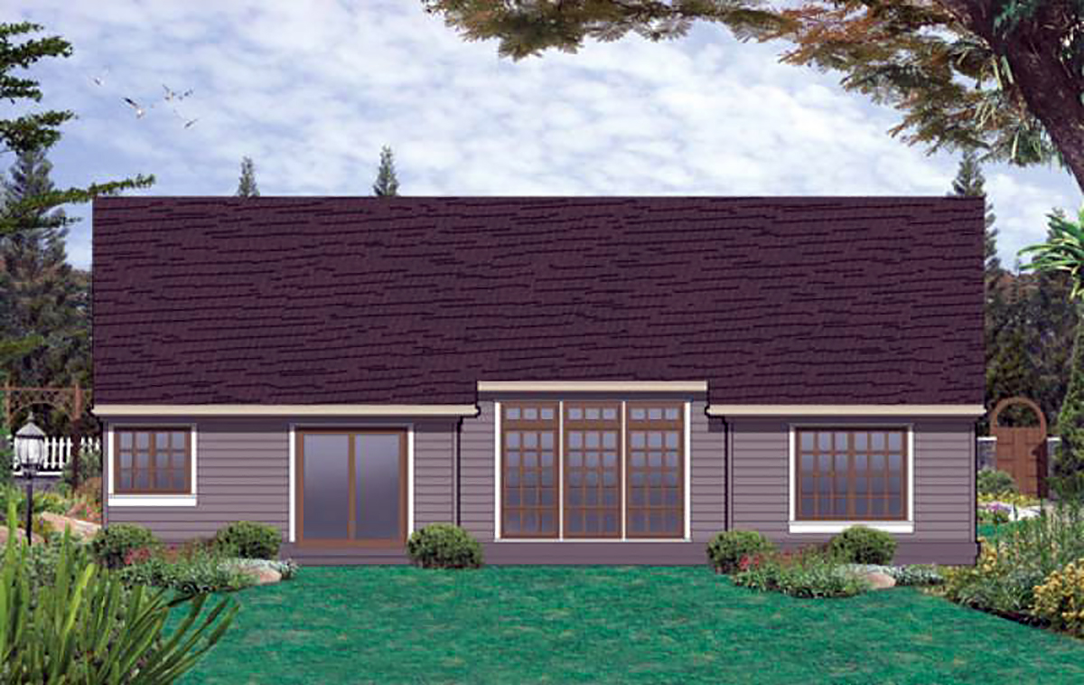 Ranch House Plan 81276 with 3 Beds, 2 Baths, 2 Car Garage Rear Elevation