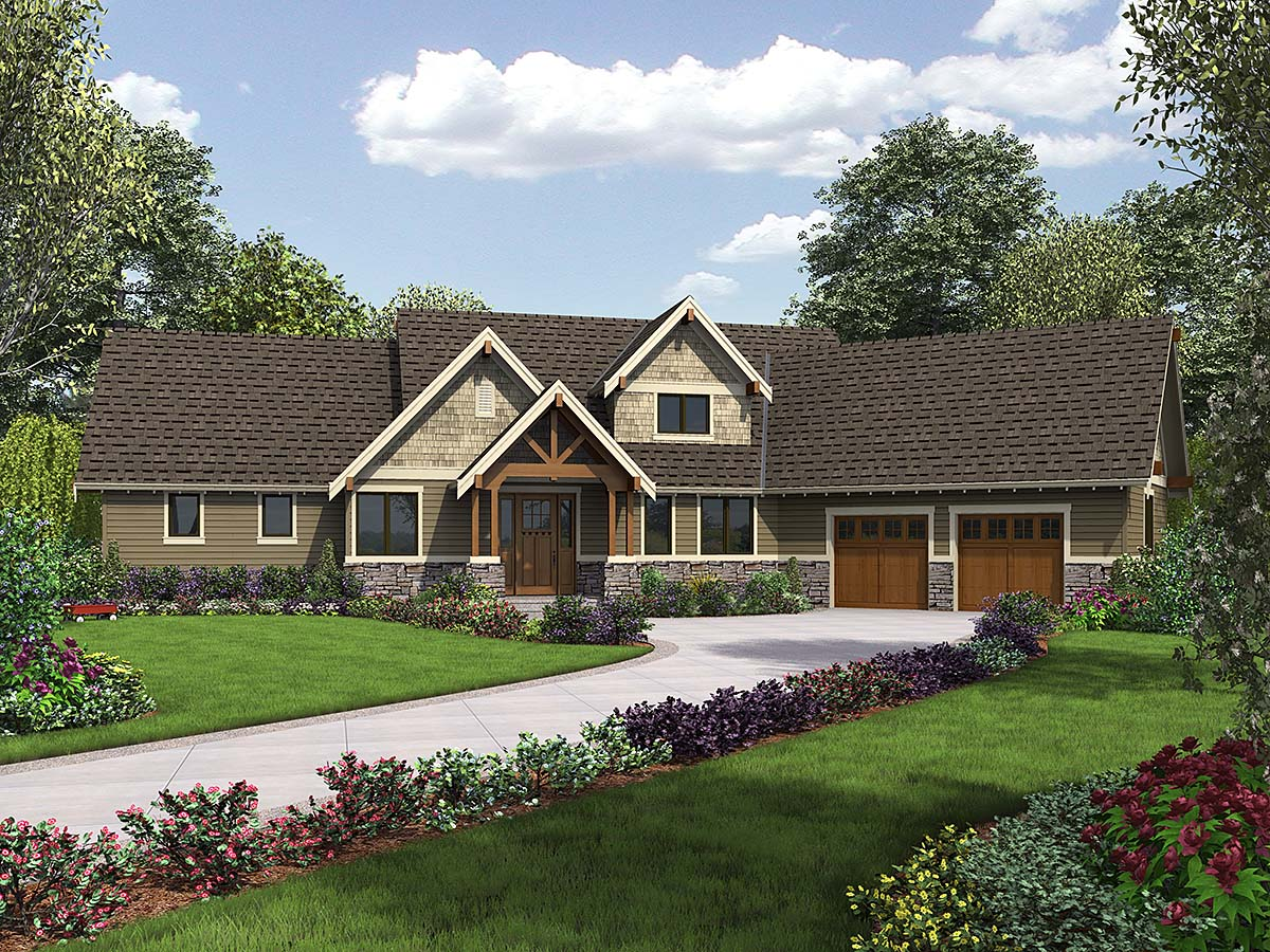 Bungalow, Craftsman, Tuscan House Plan 81278 with 3 Beds, 3 Baths, 2 Car Garage Elevation