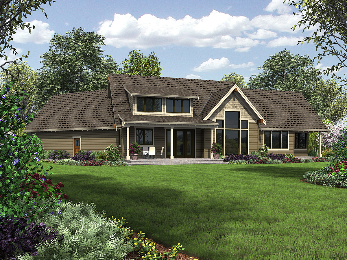 Bungalow, Craftsman, Tuscan House Plan 81278 with 3 Beds, 3 Baths, 2 Car Garage Rear Elevation
