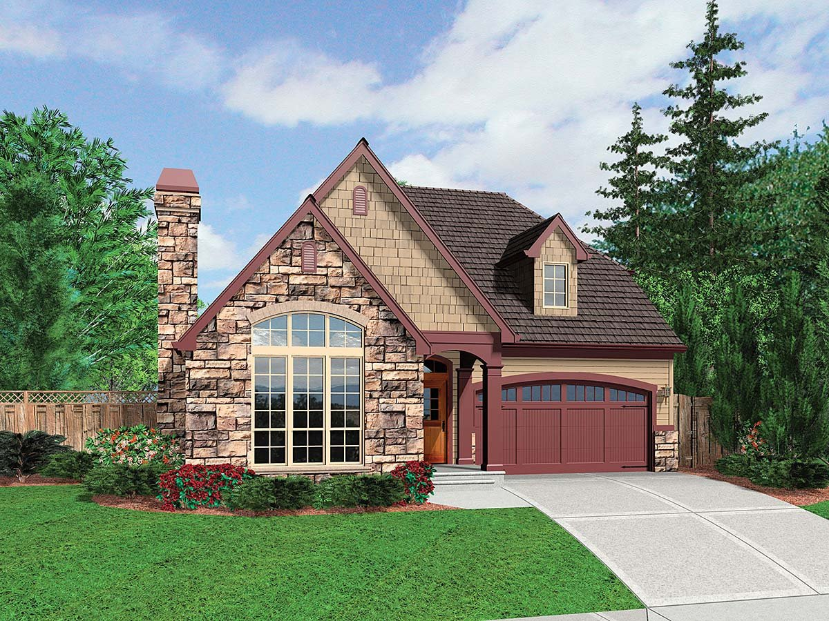 Cottage, Narrow Lot, Tudor House Plan 81291 with 3 Beds , 3 Baths , 2 Car Garage Elevation
