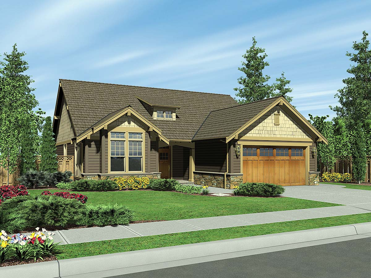 Bungalow, Craftsman, Narrow Lot House Plan 81292 with 3 Beds, 2 Baths, 2 Car Garage Elevation