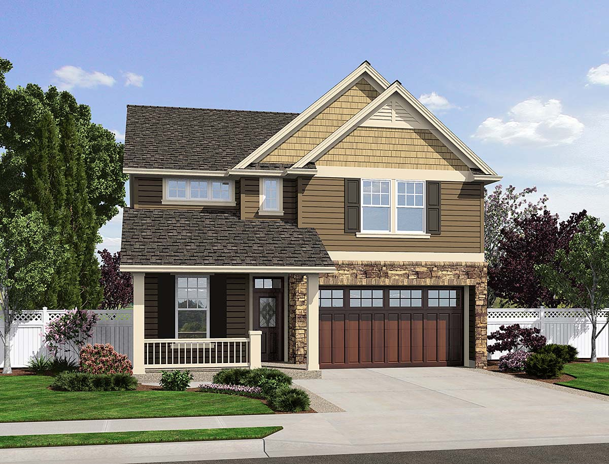 Bungalow, Cottage, Craftsman, Narrow Lot House Plan 81294 with 3 Beds, 3 Baths, 2 Car Garage Elevation