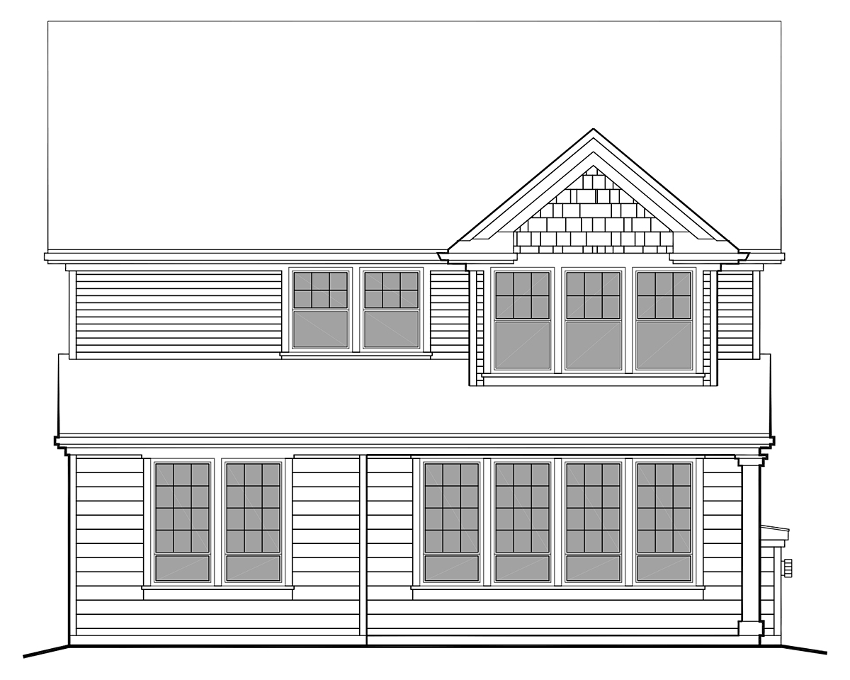 Bungalow, Cottage, Craftsman, Narrow Lot House Plan 81294 with 3 Beds, 3 Baths, 2 Car Garage Rear Elevation
