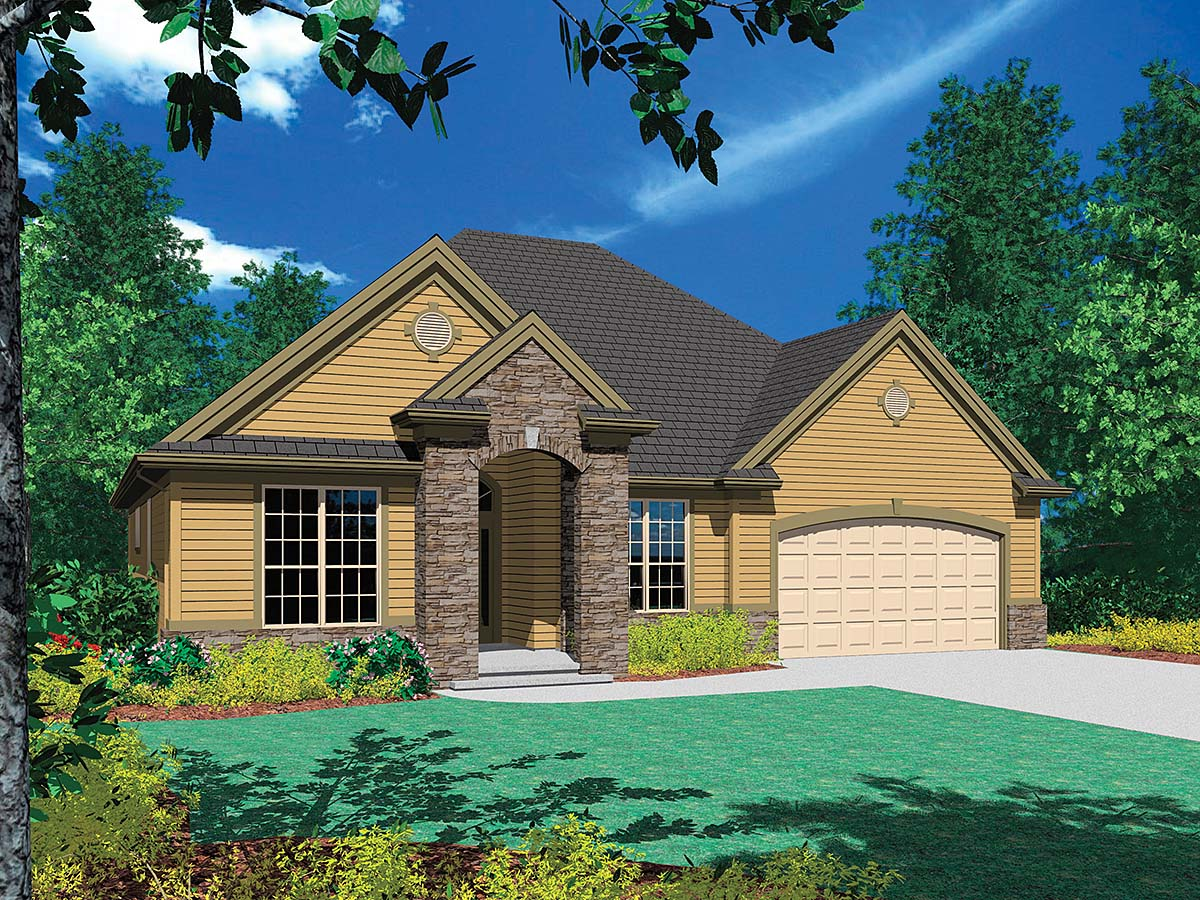 Bungalow, European House Plan 81295 with 3 Beds, 3 Baths, 2 Car Garage Elevation