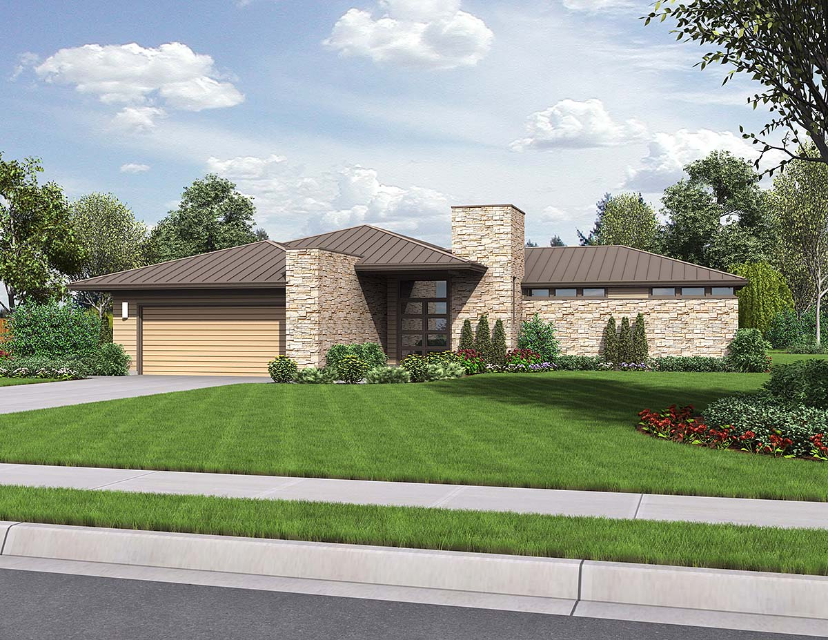 Contemporary, Modern, Prairie 2 Car Garage Plan 81298 with 3 Beds, 3 Baths Elevation