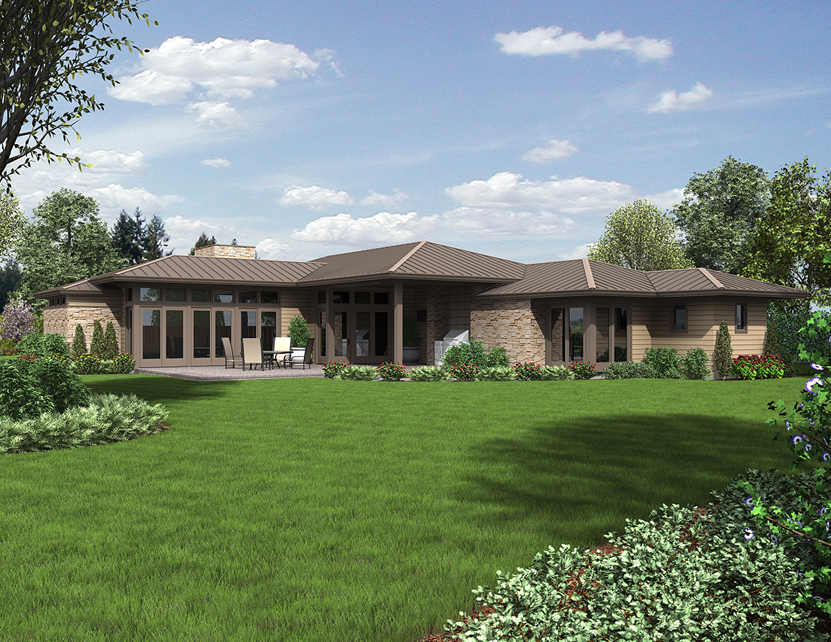 Contemporary, Modern, Prairie 2 Car Garage Plan 81298 with 3 Beds, 3 Baths Rear Elevation