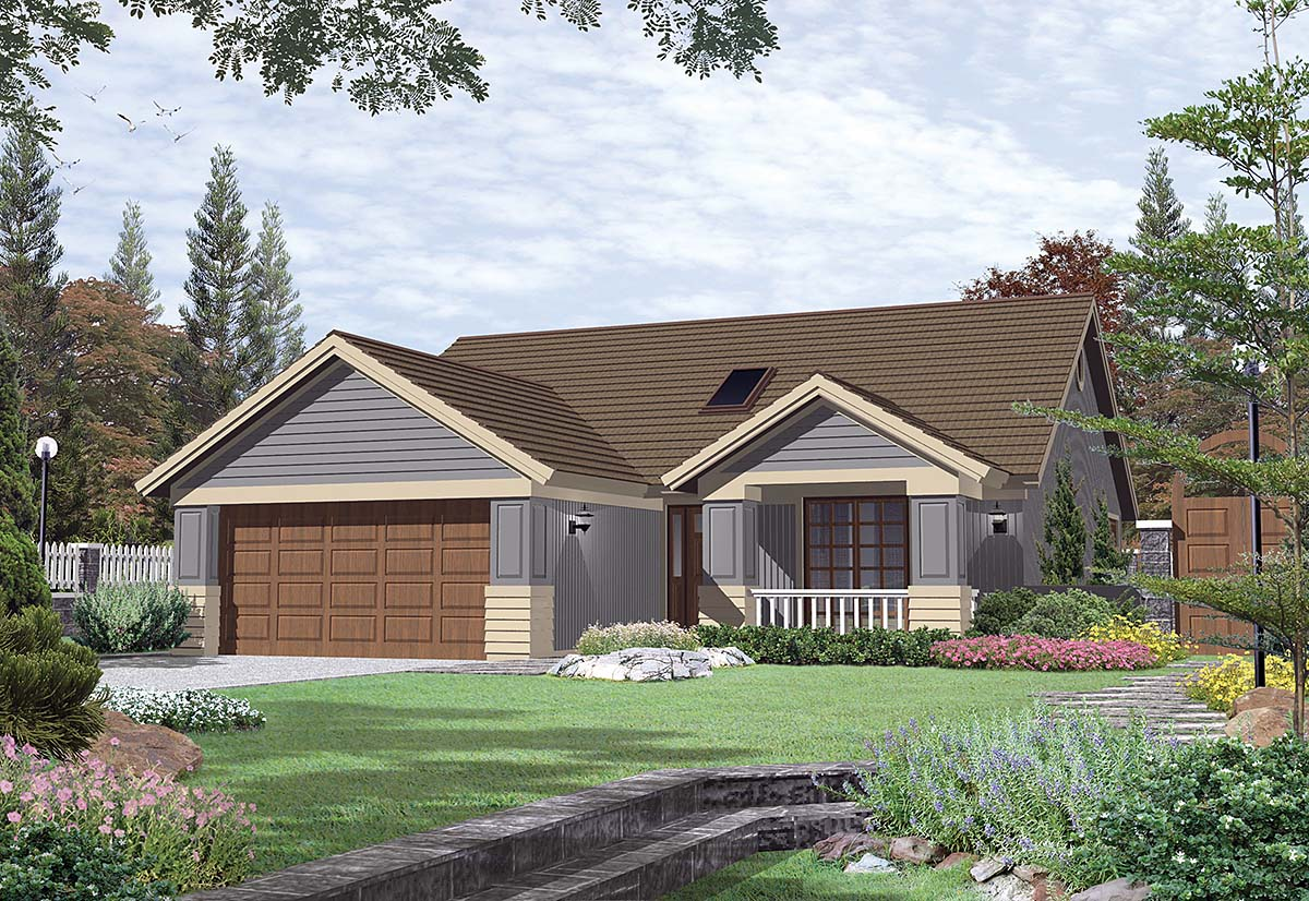 Bungalow, Narrow Lot House Plan 81299 with 2 Beds, 2 Baths, 2 Car Garage Elevation