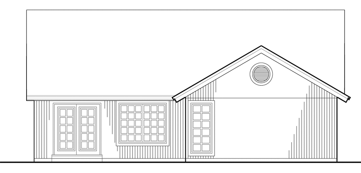 Bungalow, Narrow Lot House Plan 81299 with 2 Beds, 2 Baths, 2 Car Garage Rear Elevation