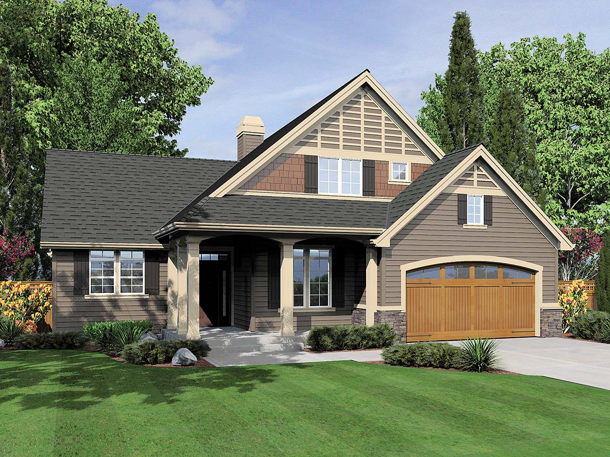 Bungalow House Plan 81300 with 3 Beds, 3 Baths, 3 Car Garage Elevation