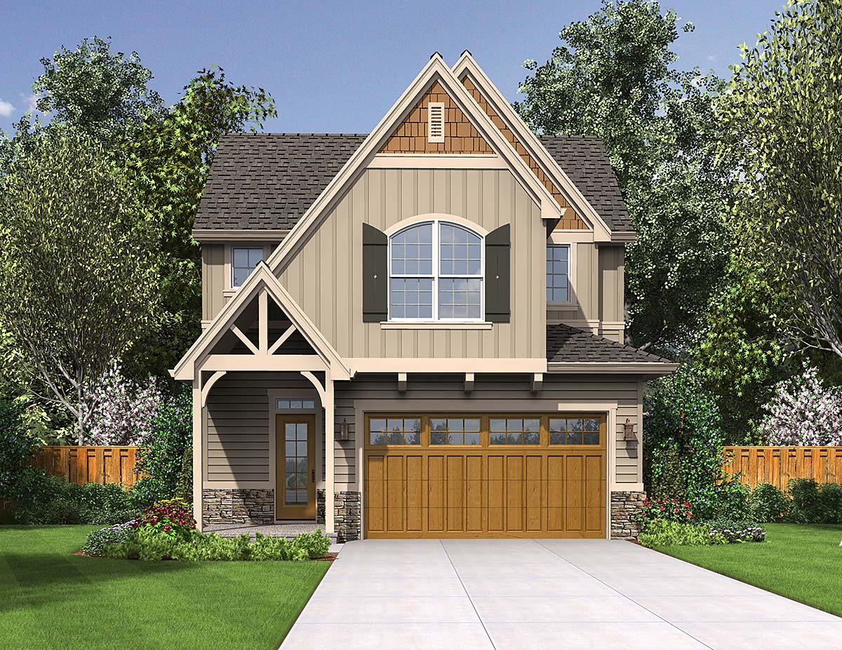 Cottage, Narrow Lot House Plan 81301 with 3 Beds, 3 Baths, 2 Car Garage Elevation