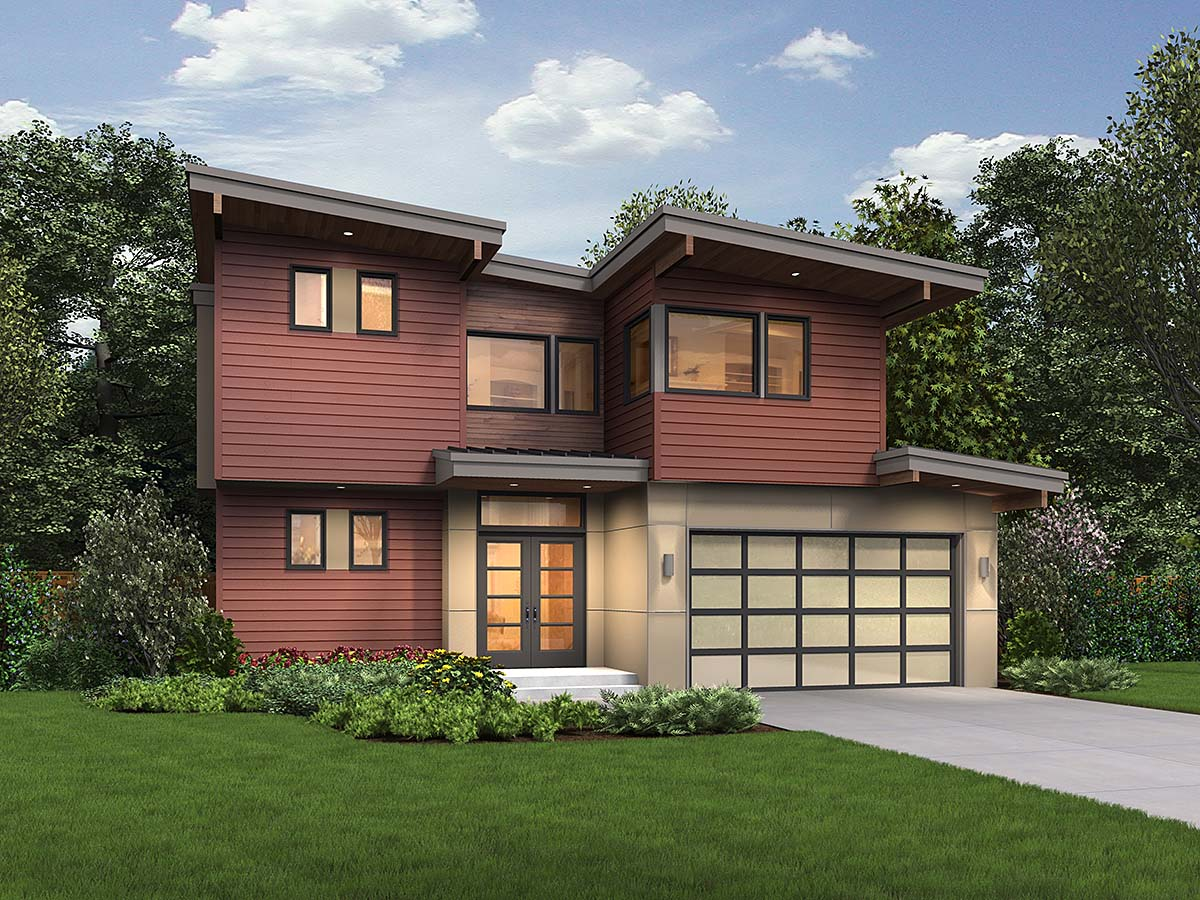 Contemporary, Modern House Plan 81302 with 4 Beds, 4 Baths, 2 Car Garage