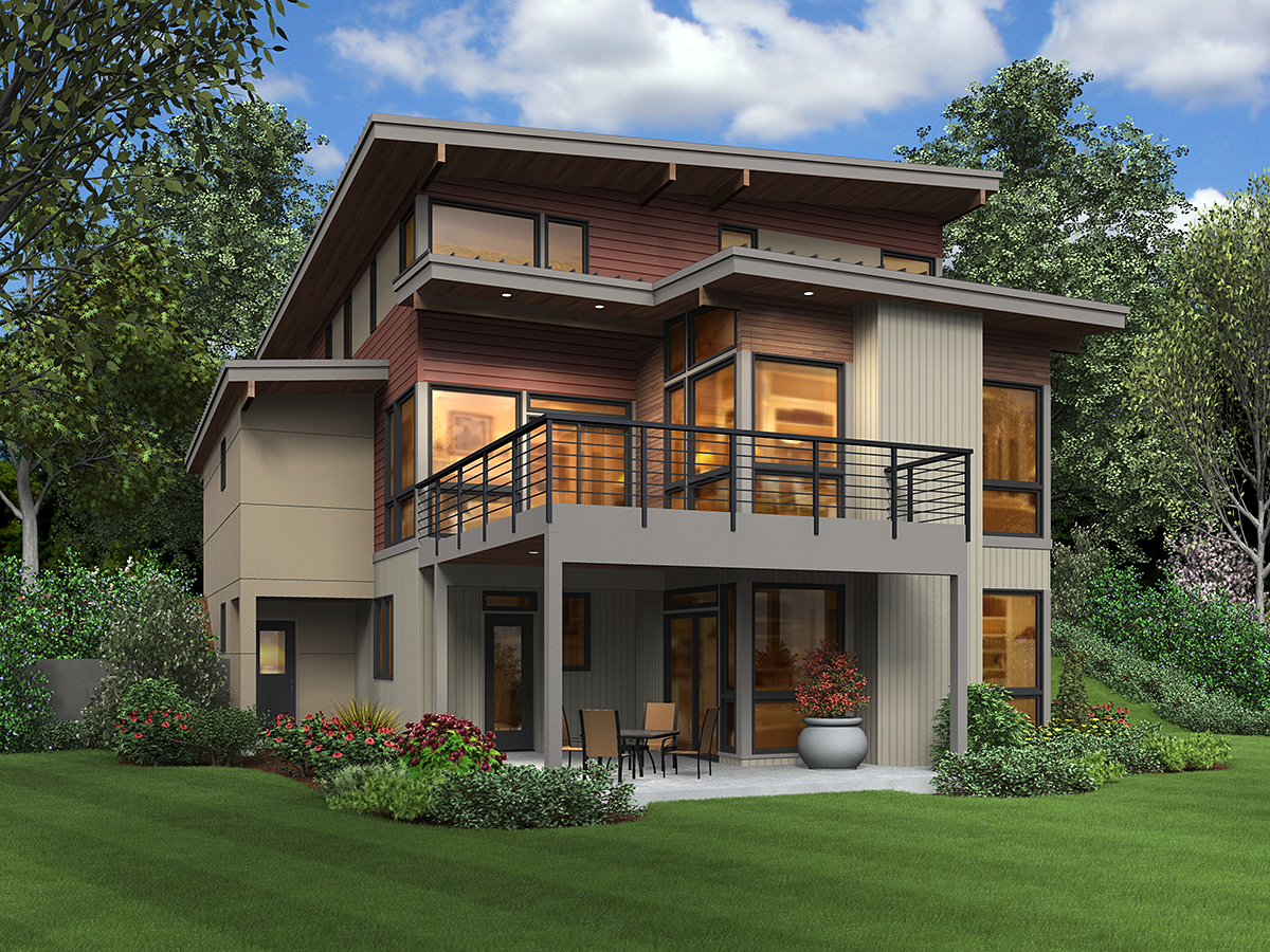 Contemporary, Modern House Plan 81302 with 4 Beds, 4 Baths, 2 Car Garage Rear Elevation