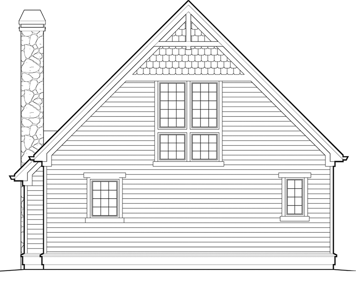Bungalow, Cabin, Cottage, Country House Plan 81303 with 1 Beds, 1 Baths Rear Elevation
