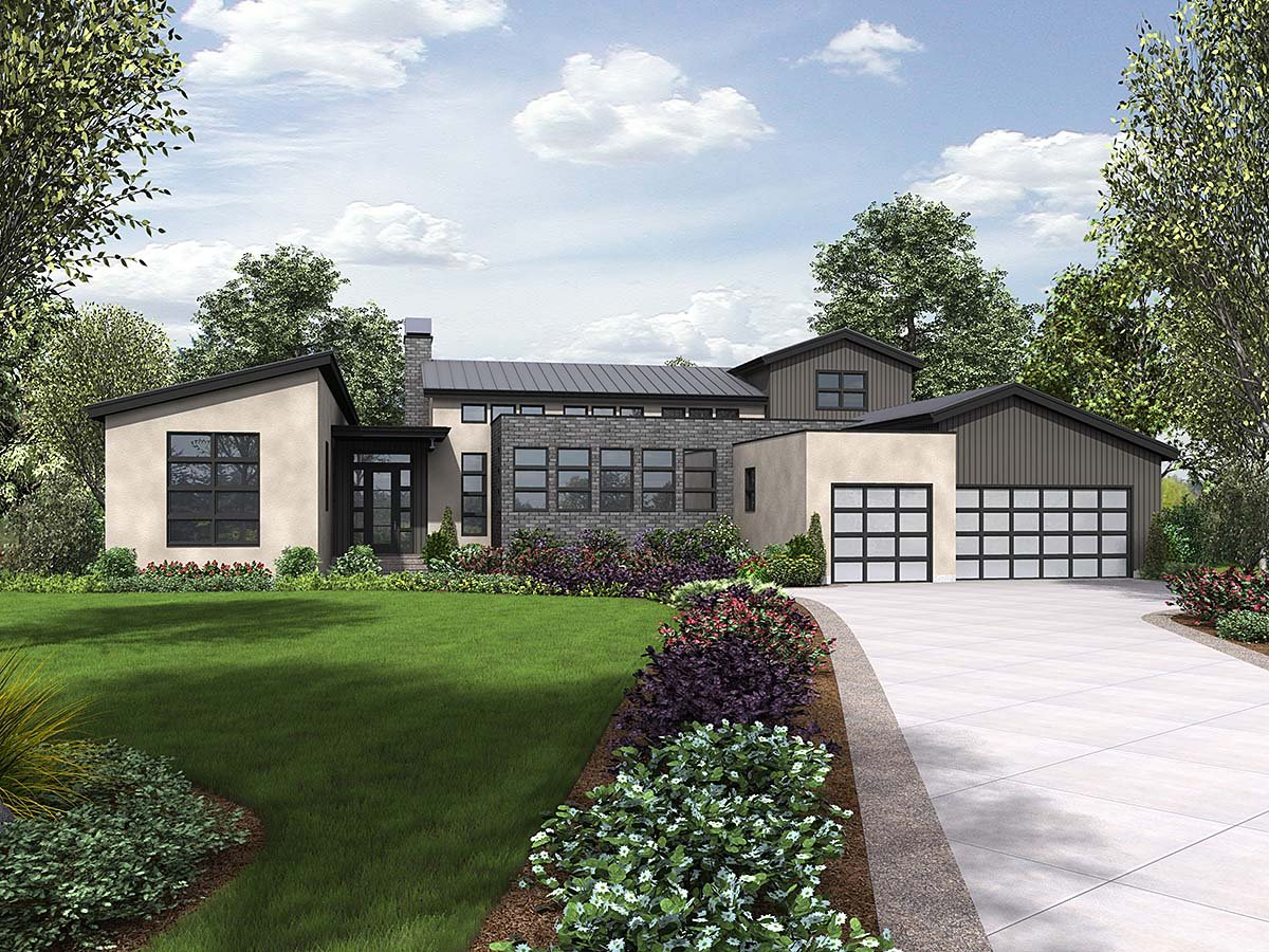Contemporary, Modern House Plan 81304 with 3 Beds, 3 Baths, 3 Car Garage Front Elevation