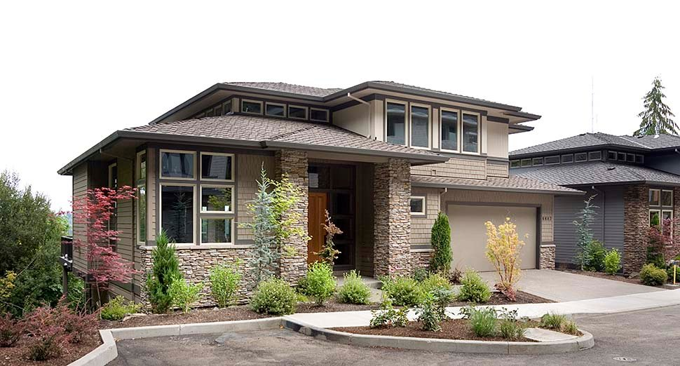 Contemporary, Prairie House Plan 81305 with 4 Beds, 4 Baths, 3 Car Garage Picture 4