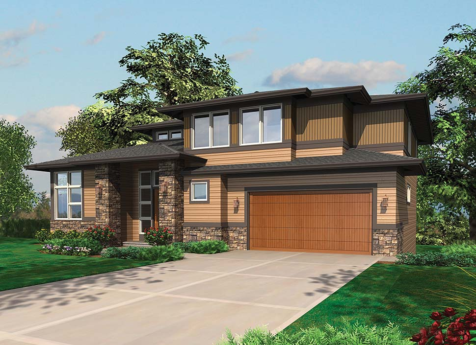 Contemporary, Prairie House Plan 81305 with 4 Beds, 4 Baths, 3 Car Garage Picture 7