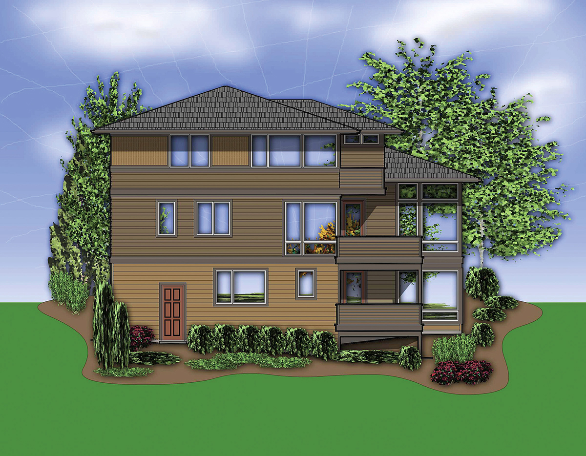 Contemporary, Prairie House Plan 81305 with 4 Beds, 4 Baths, 3 Car Garage Rear Elevation