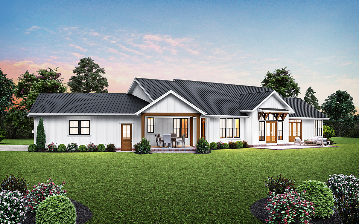 Country, Farmhouse, Ranch House Plan 81307 with 3 Beds, 5 Baths, 3 Car Garage Rear Elevation