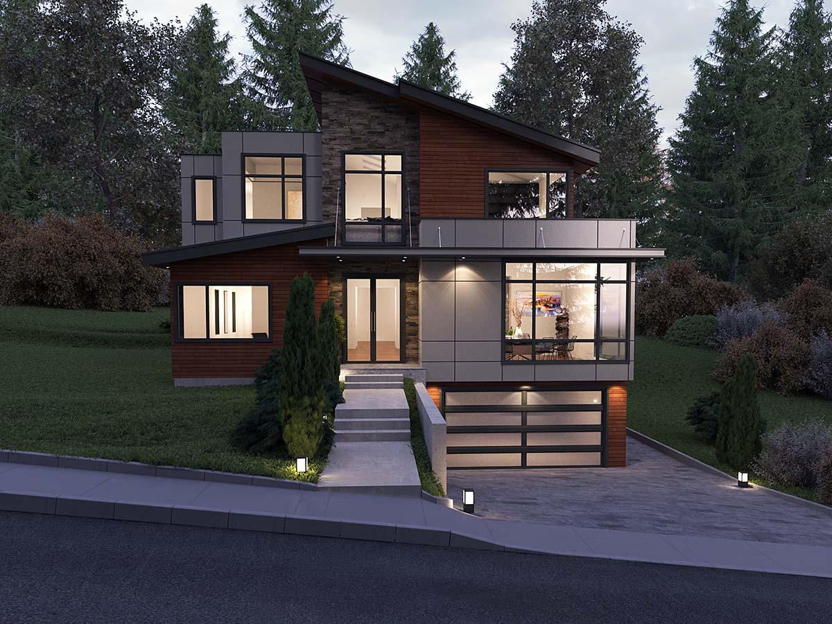 Contemporary, Modern House Plan 81900 with 5 Beds, 5 Baths, 2 Car Garage Front Elevation