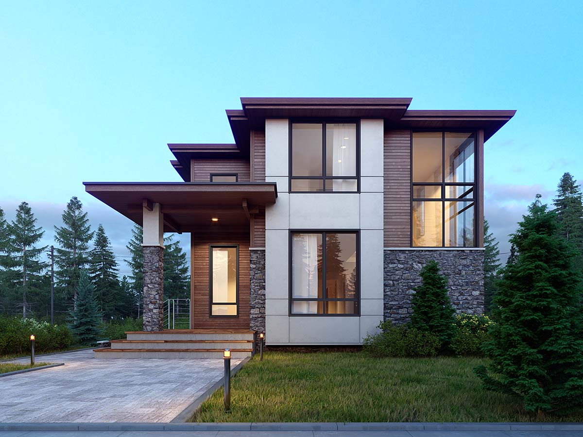 Contemporary, Modern House Plan 81901 with 5 Beds, 4 Baths, 2 Car Garage Elevation