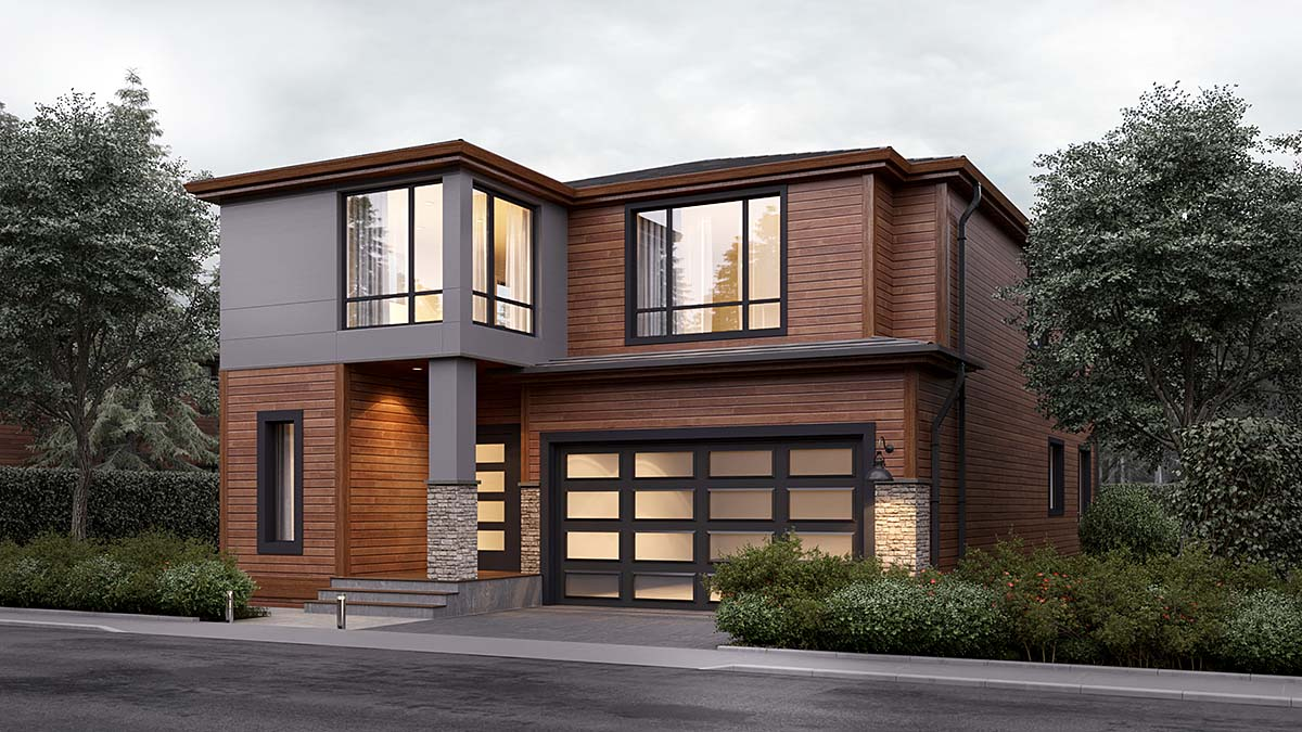 Modern House Plan 81904 with 4 Beds, 3 Baths, 2 Car Garage Front Elevation